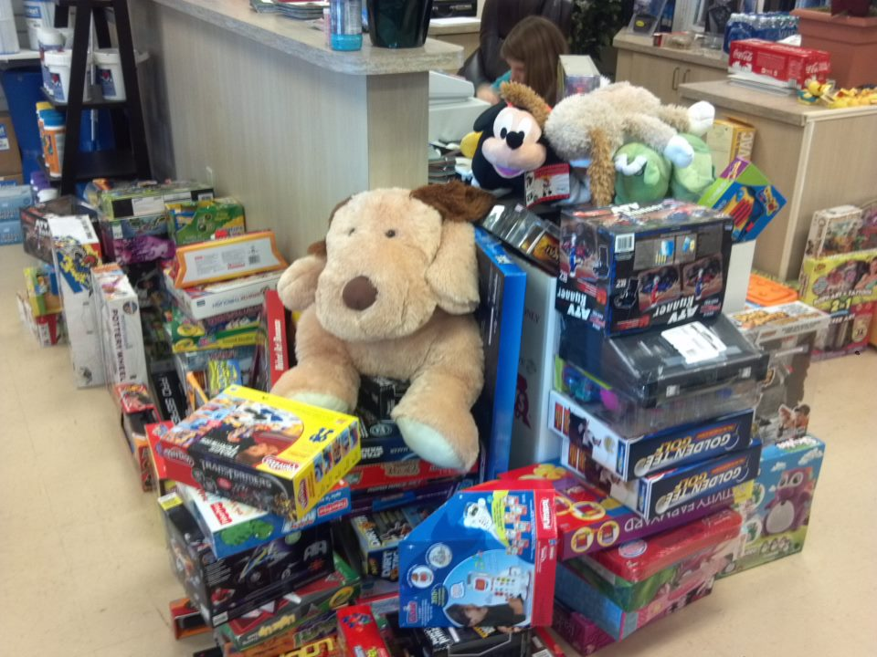 toys stacked up to donate