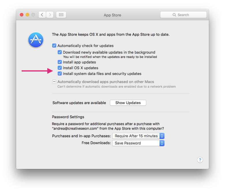 System Preferences App Store Automatica Updates