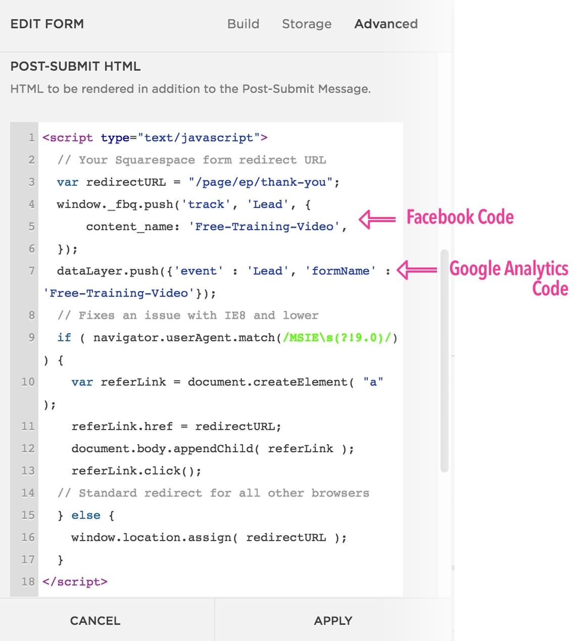Push Form Submission to Facebook and Google