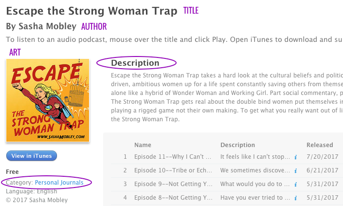iTunes Podcast Listing