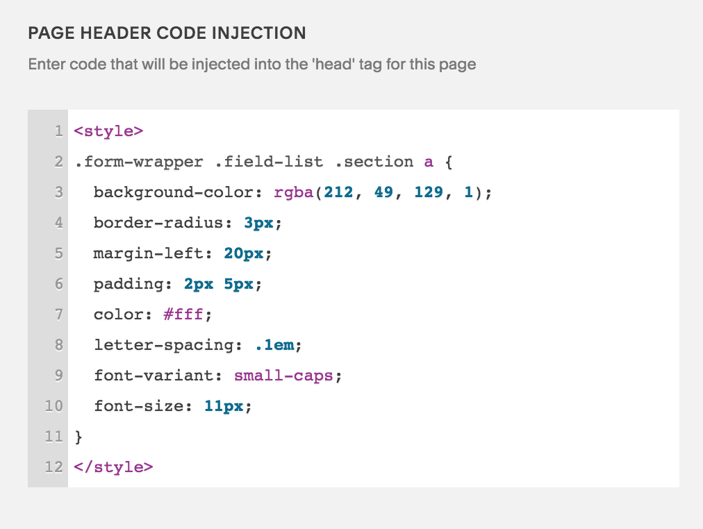 EXAMPLE: This is how the properly inserted code will appear in the Page Header Code Injection panel