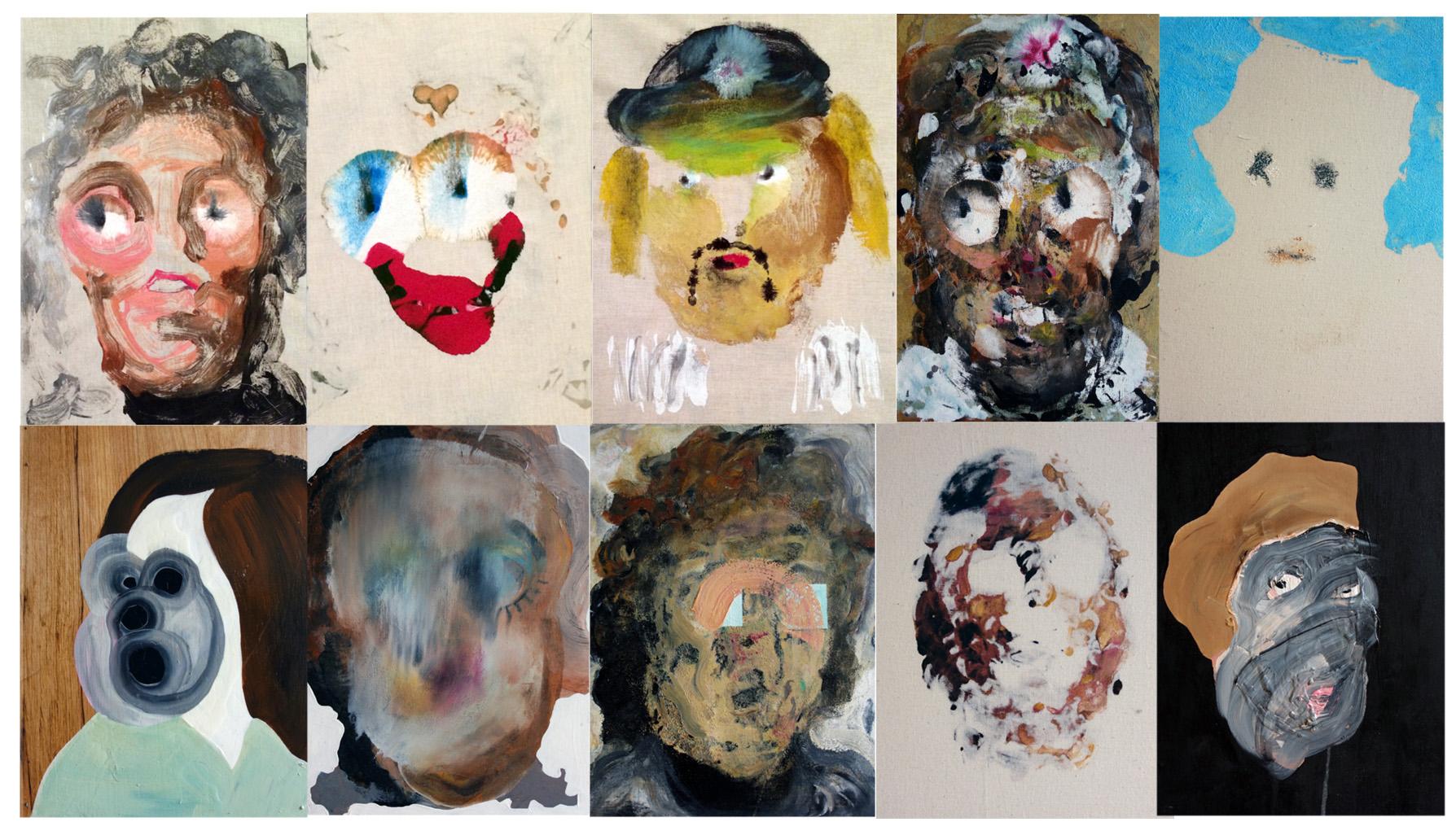 "Eliot Greenwald, various portraits,  2016  Acrylic paint on muslin  15""x11""x2"""