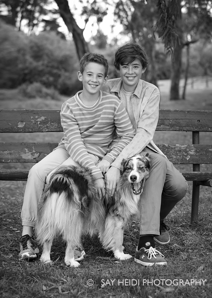 siblings portrait with dog