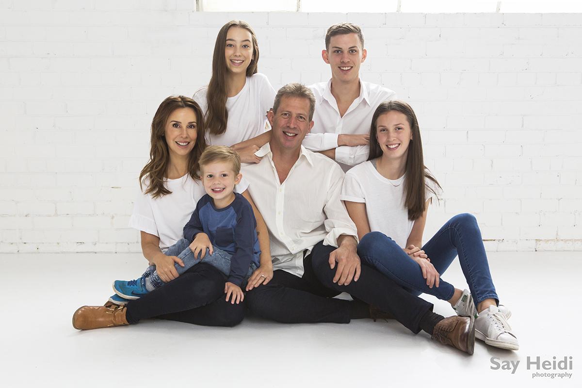 studio family portrait natural light