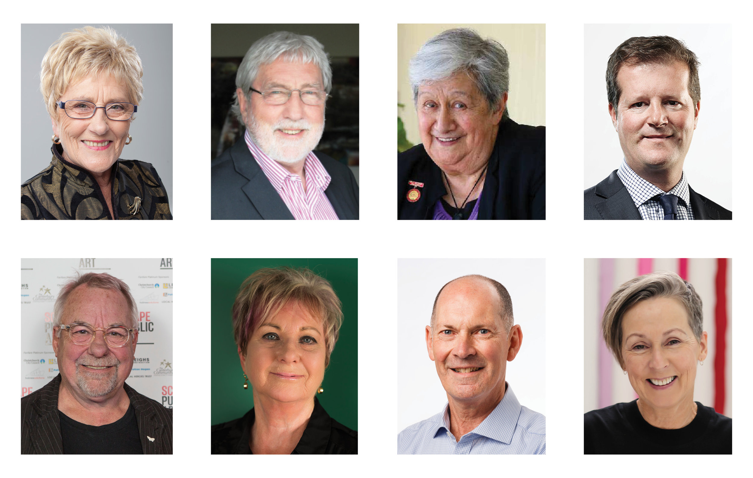 Entries were judged by well-known advocates for public arts, from top left:  Dame Adrienne Stewart, Bob Blyth, Aroha Reriti-Crofts, David Goodman, Neil Dawson, Anna Crighton, Anthony Wright and Helen Calder.