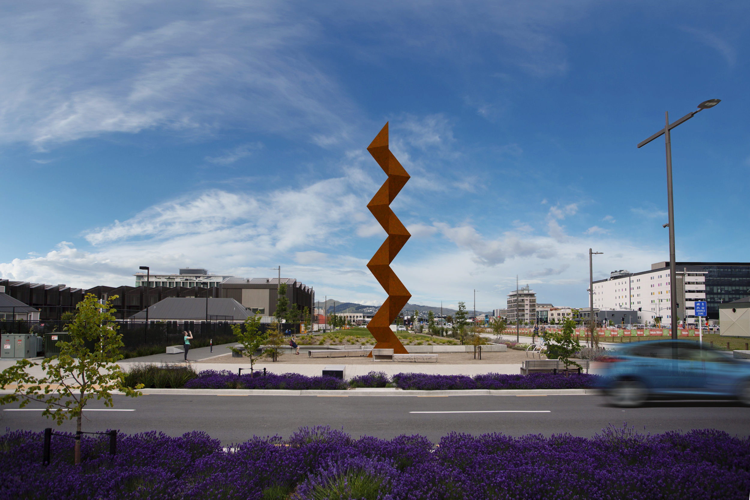 Sēmisi Fetokai Potauaine  VAKA 'A HINA  2019 Rauora Park, Christchurch (site render – day). Image courtesy of the artist. Commissioned by SCAPE Public Art.