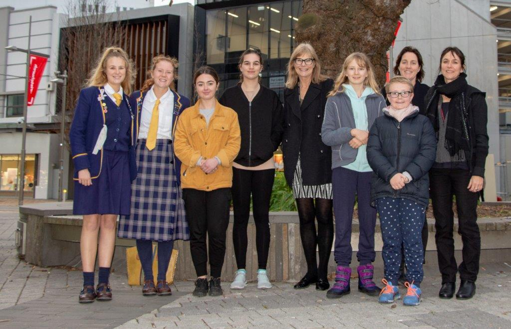 Re:ACTIVATE 2019 winners, supporters and organisers, from left: Rosetta Brown, Hazel White, Emily Higham, Helena McCondach, Cr Anne Galloway, Tessa Marshall, Alex Sands, Helen Trappitt and Josie Whelan. (Absent: Georgina Jolly).