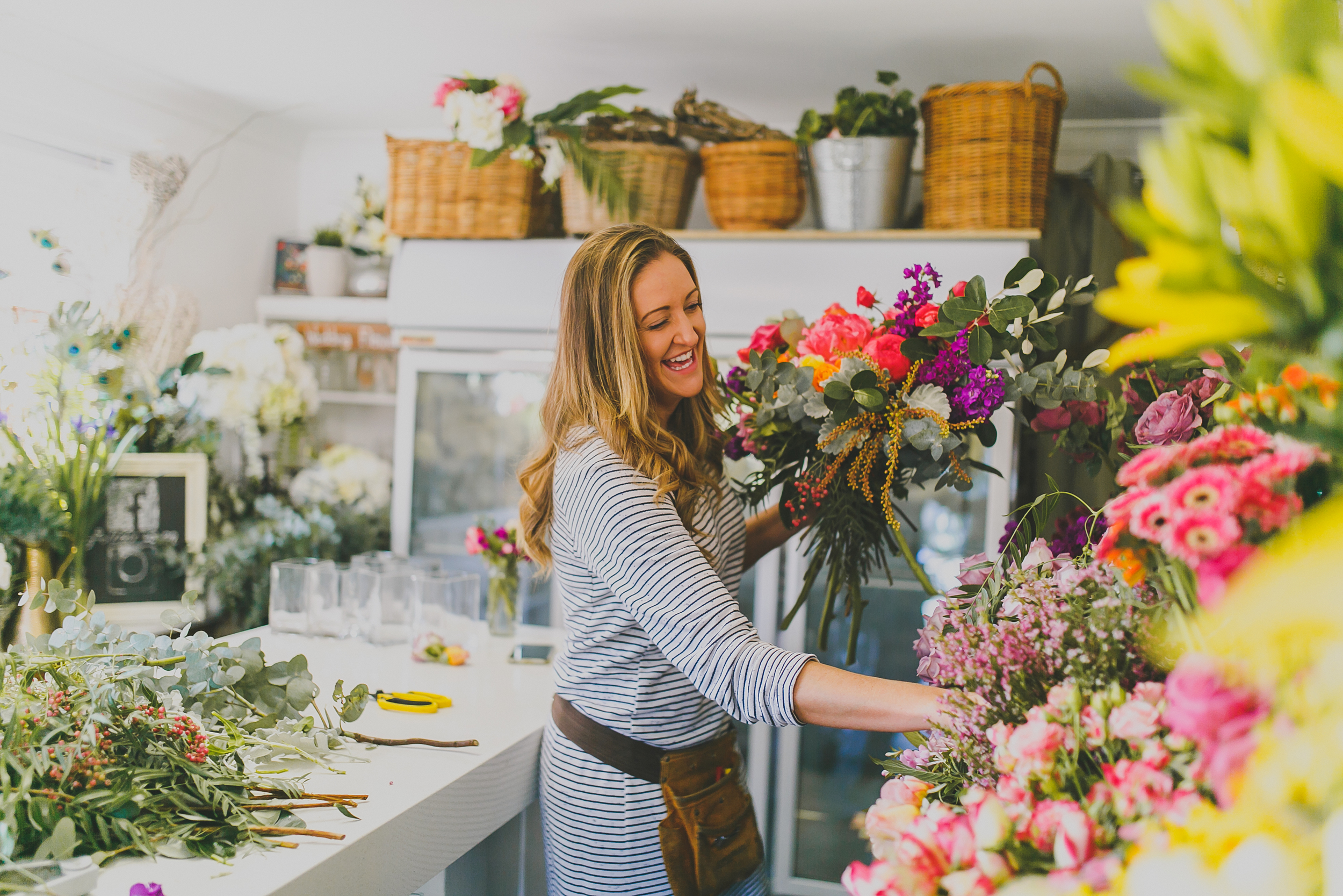 Jess from Mimosa Floral Designs working in her Terrigal based Studio.