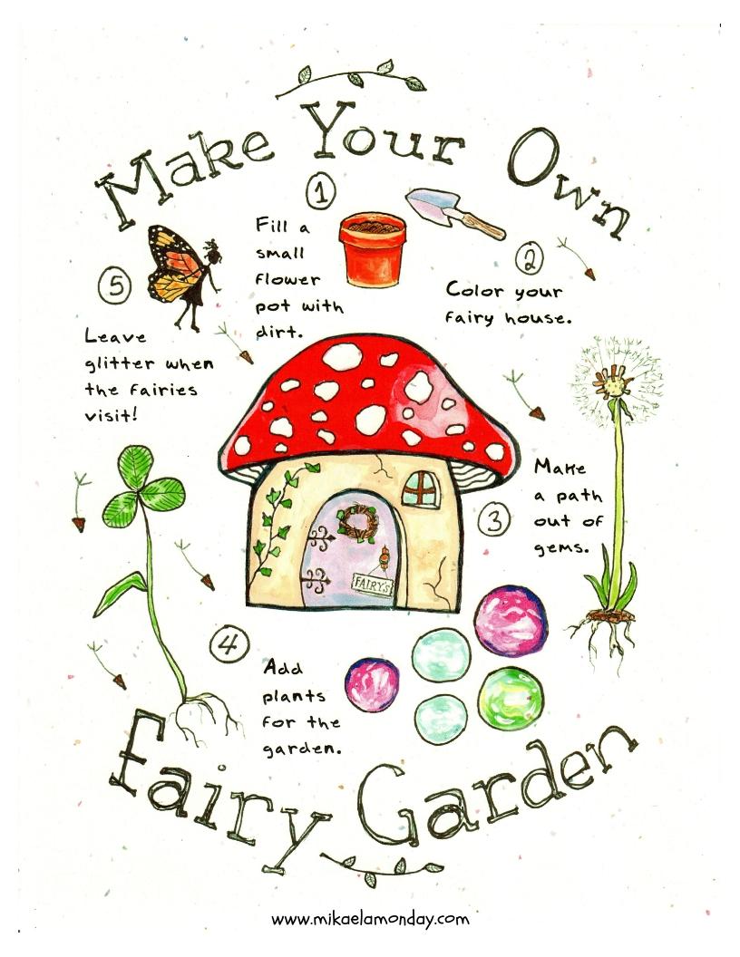 Make Your Own Fairy Garden (Printable!) 🧚 #fairygarden #diy #passiveprogram #library #kids #craft #freeprintable #coloringpage #gardening