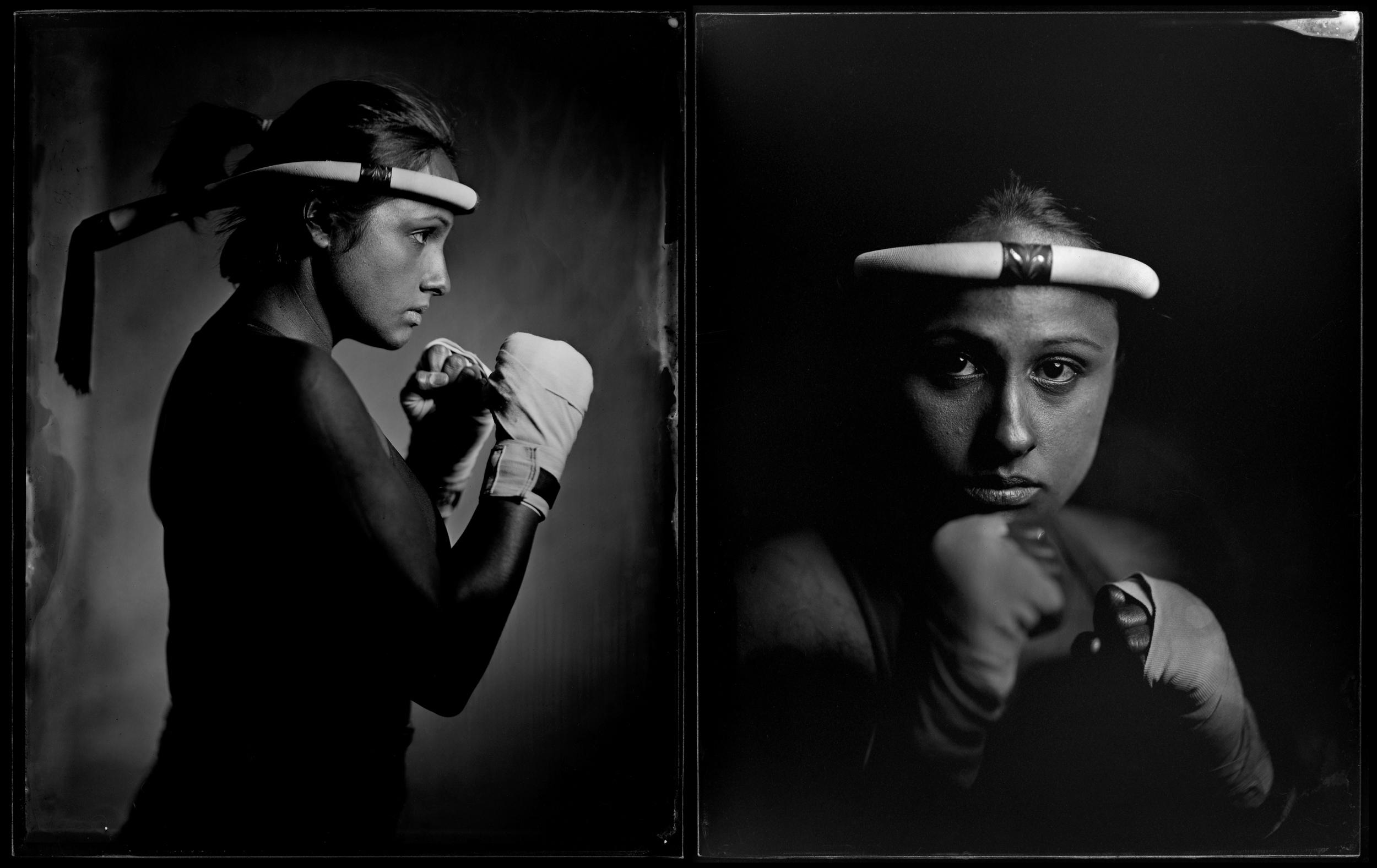 "Kirstina Sangsahachart, Muay Thai fighter - 4"" x 5"" ambrotypes"
