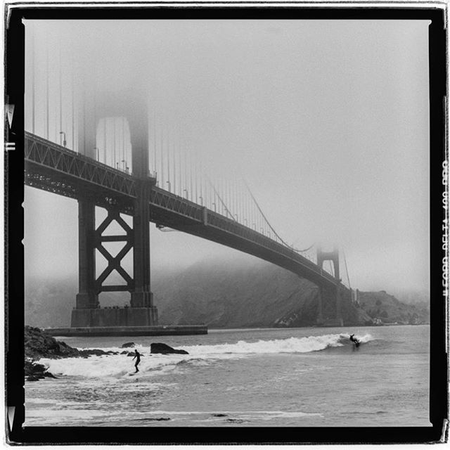 "LIFE SQUARED - ""summer surf season"" © 2018 Peter DaSilva. #summer #surf #season #goldengatebridge #fog #shrouded #120 #ilford #delta400pro #bw #film #fullframe  #hesselbald #150f4 #filmisnotdead #filmlover #6x6 #analog #nophotoshop #filmphotographer #pdsphoto #peterdasilva #analogueposse"