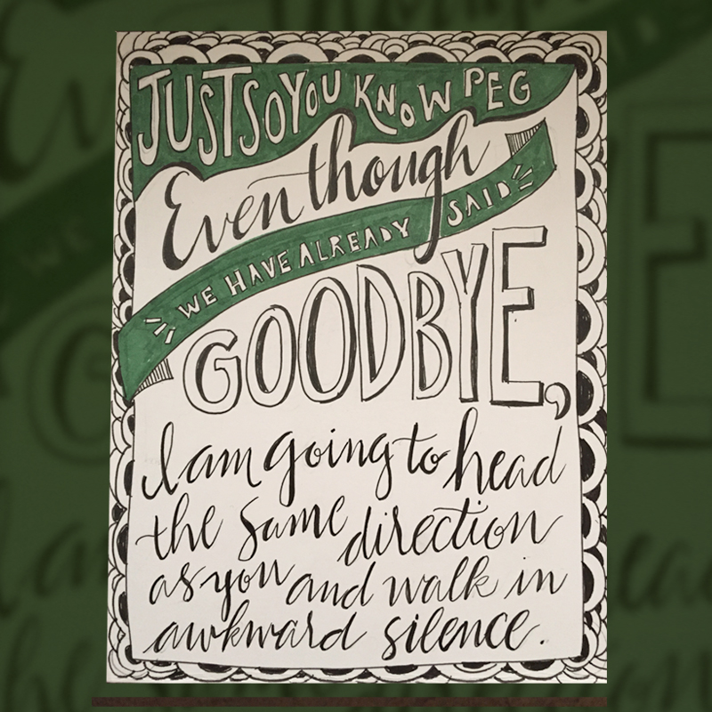 commissioned, hand lettered card