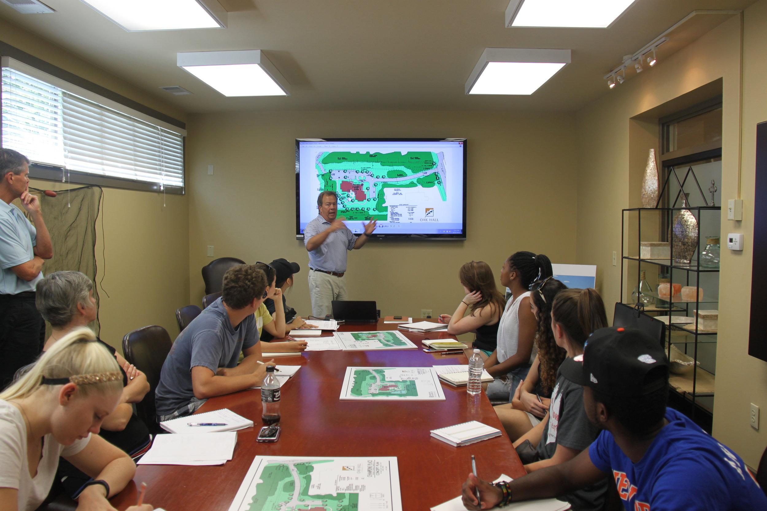 Georgia Tech students & professor meet with CCF developer.