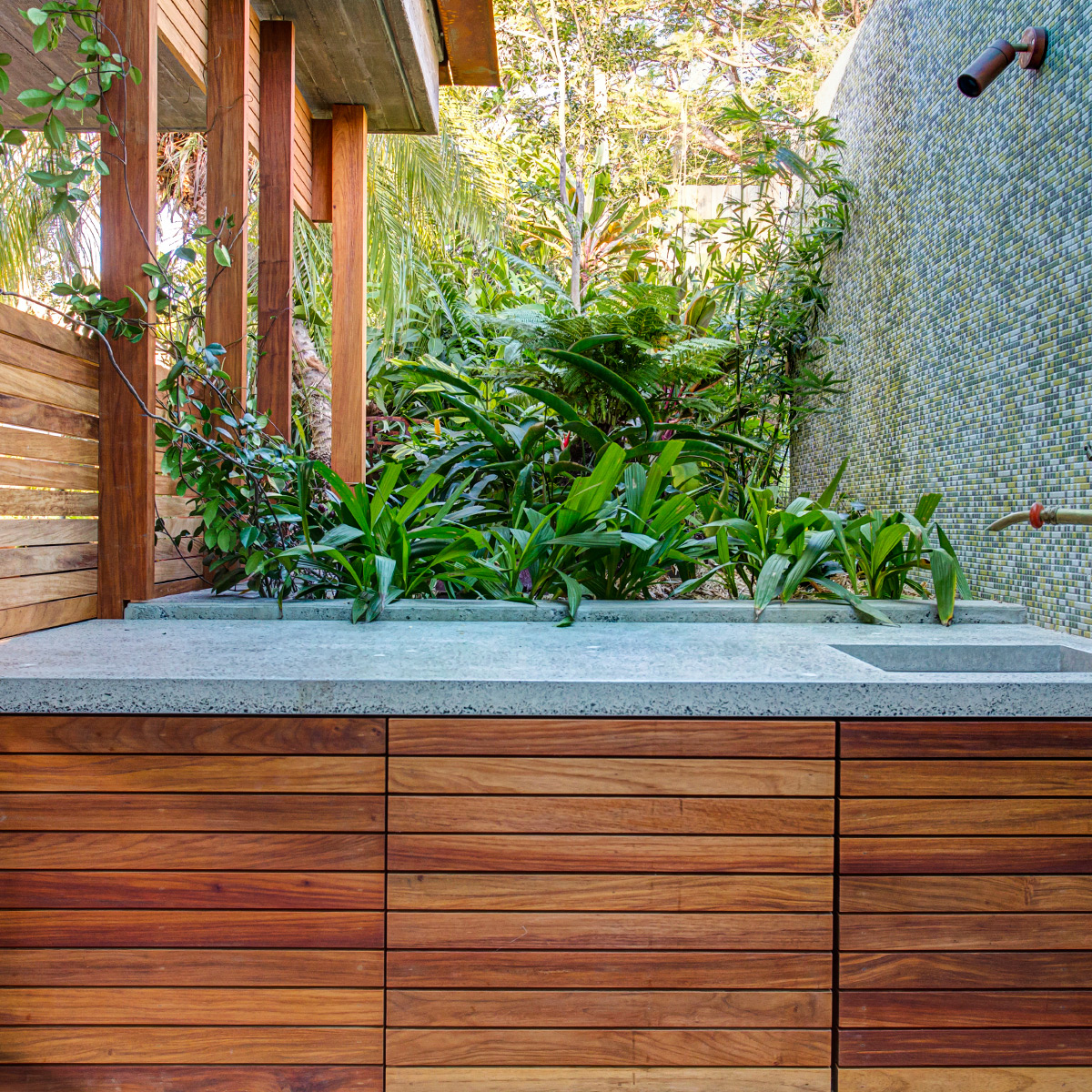 Concrete Benchtop with Seeded Quartz Stone and Undermount Sink