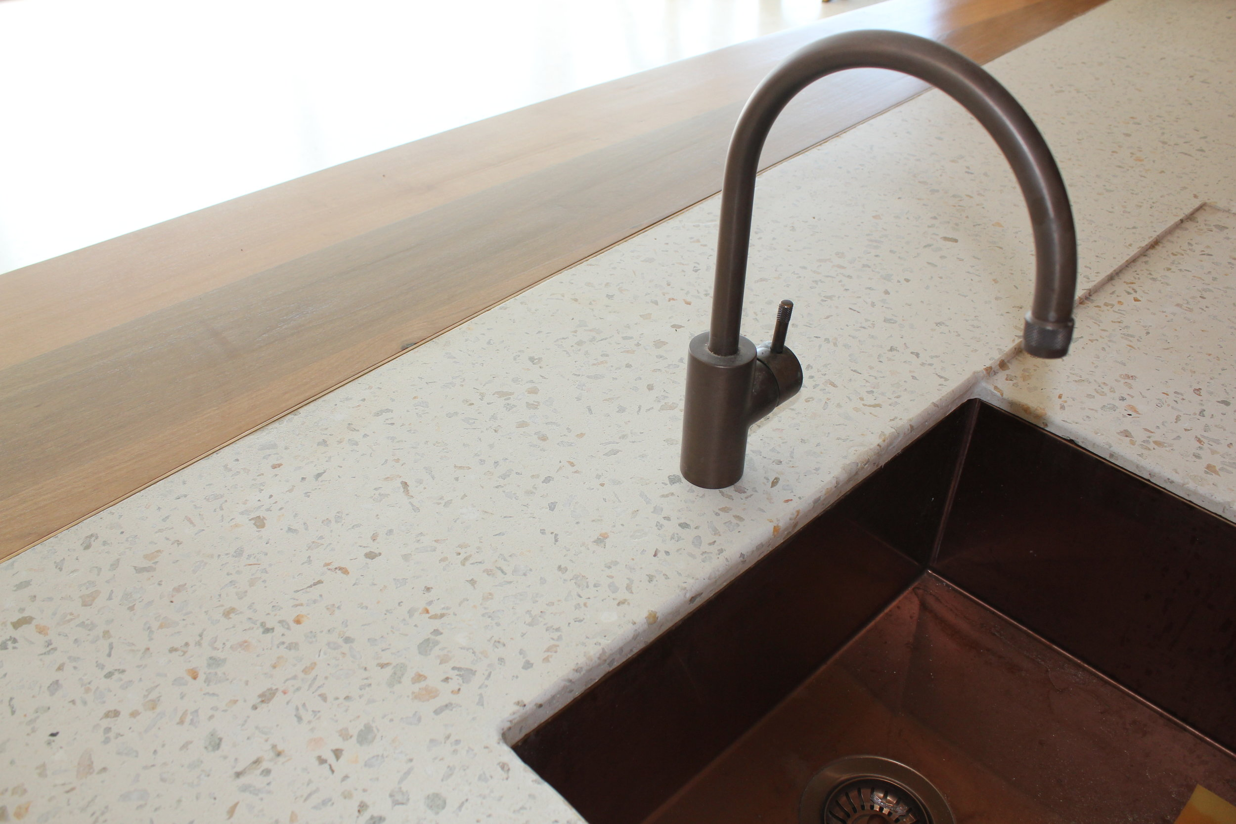 Concrete Kitchen Benchtop with Sink Cutout