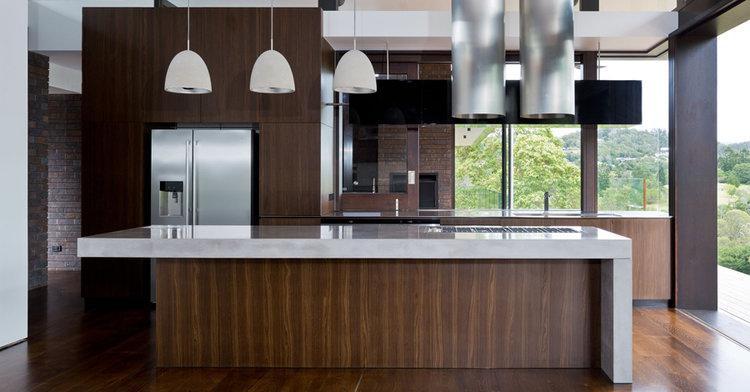 Pullenvale Hill House    - Concrete Kitchen Island, Concrete Kitchen Benchtop