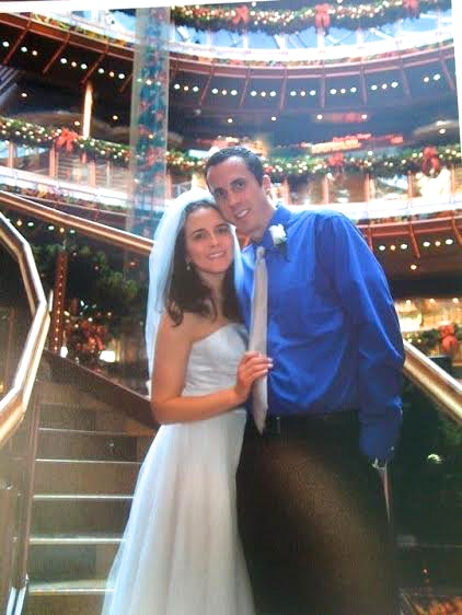 Amethyst and her husband aboard their wedding cruise ship.