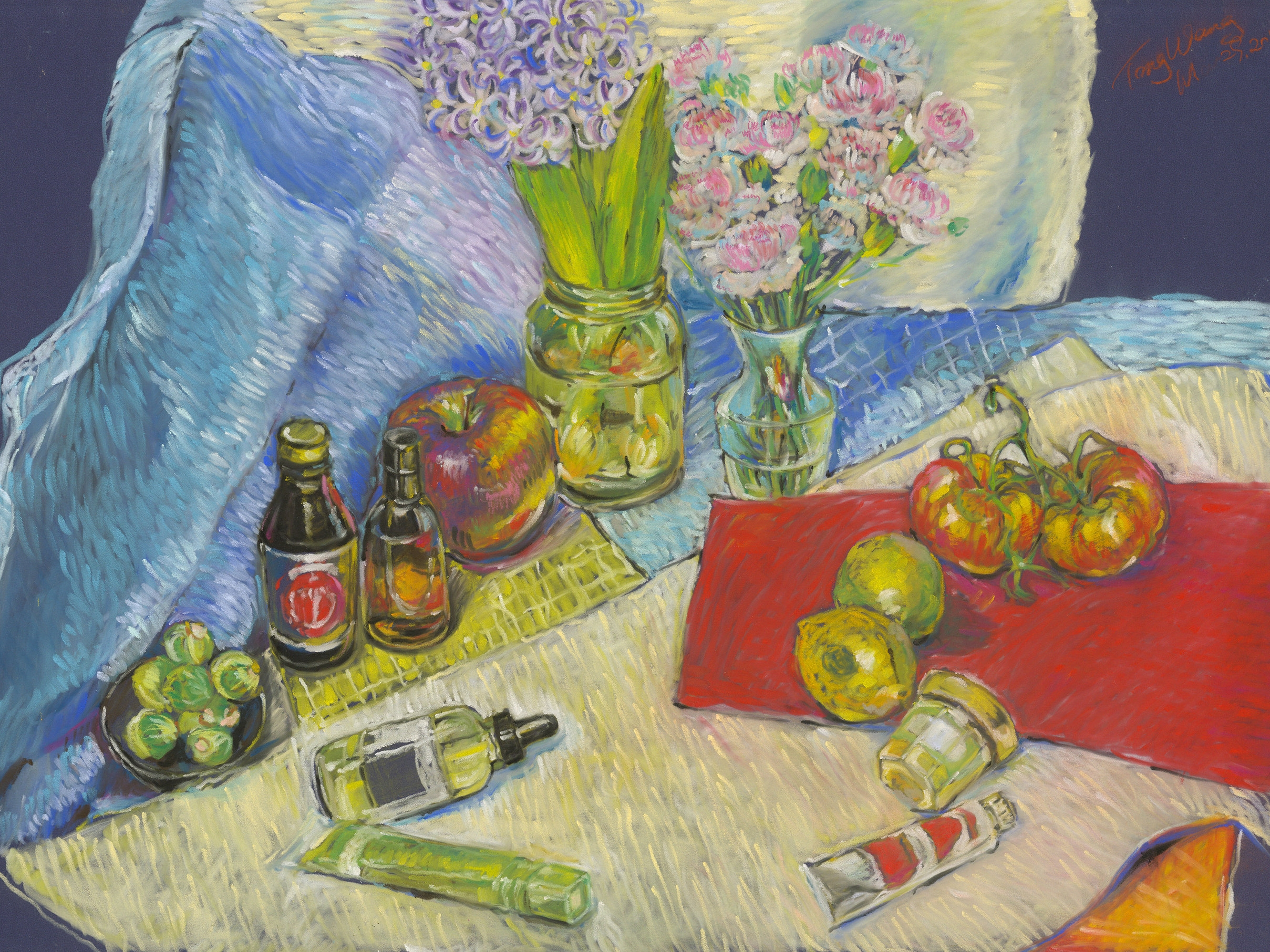 Untitled Still Life, 20in x 30in,PanPastel on Fine Sand Paper, 2015