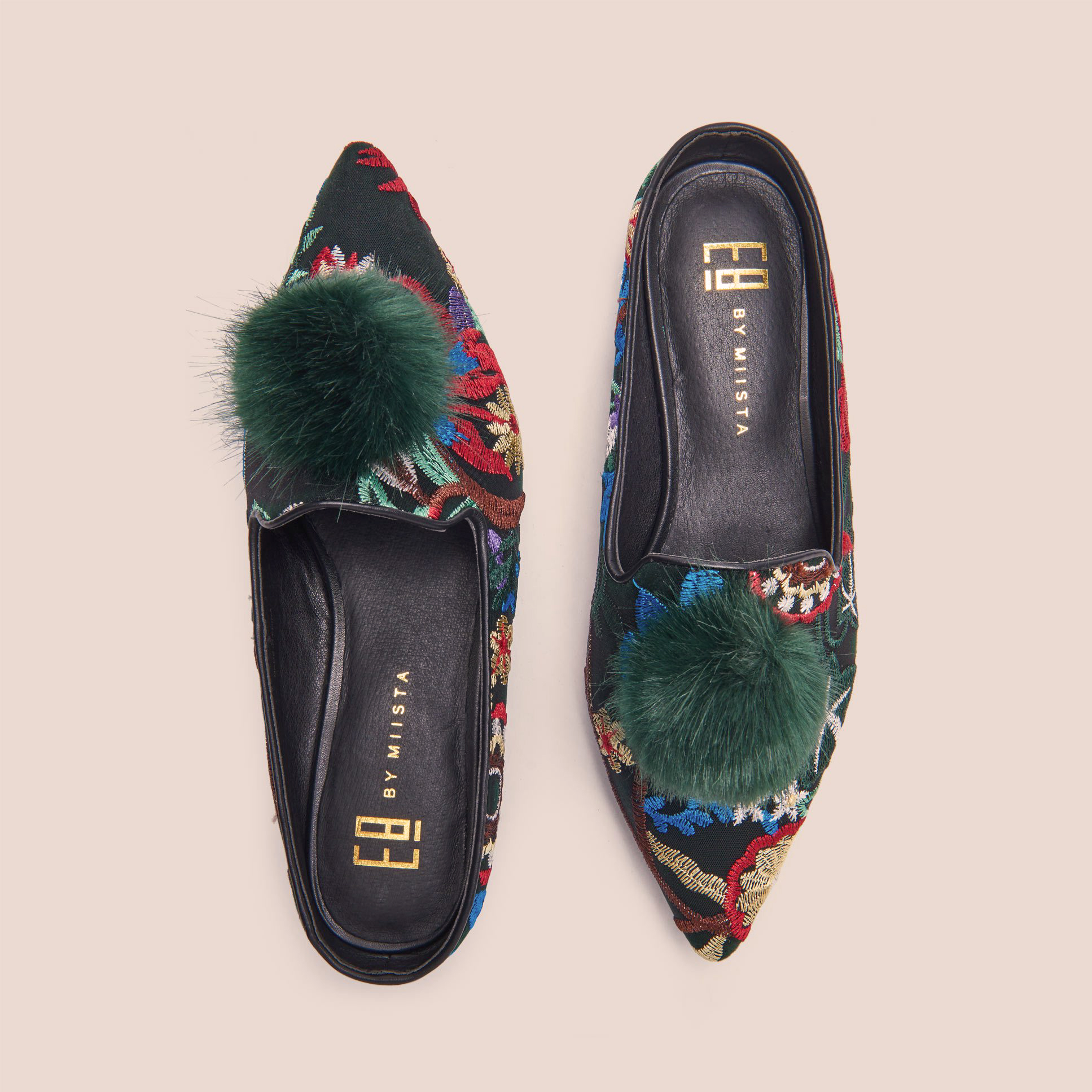 Poppy Green Embroidered Flats by E8 by Miista