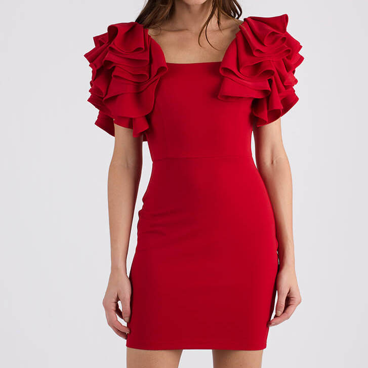 Red Dress with Big Ruffle Sleeves