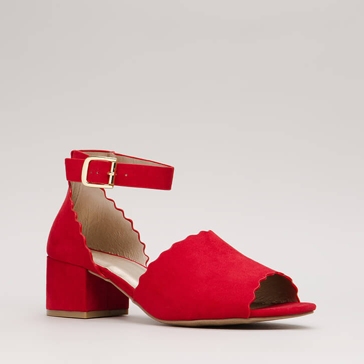 Red Short Ankle Strap Heels from GoJane by Qupid