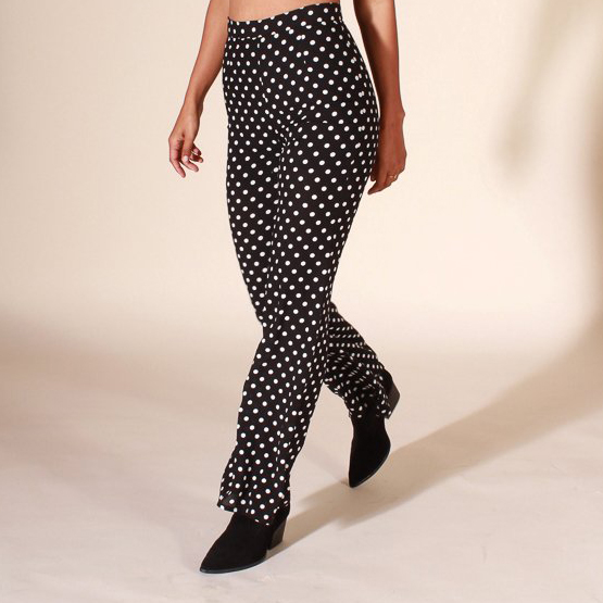 Polka Dot Tailored Flare Pants