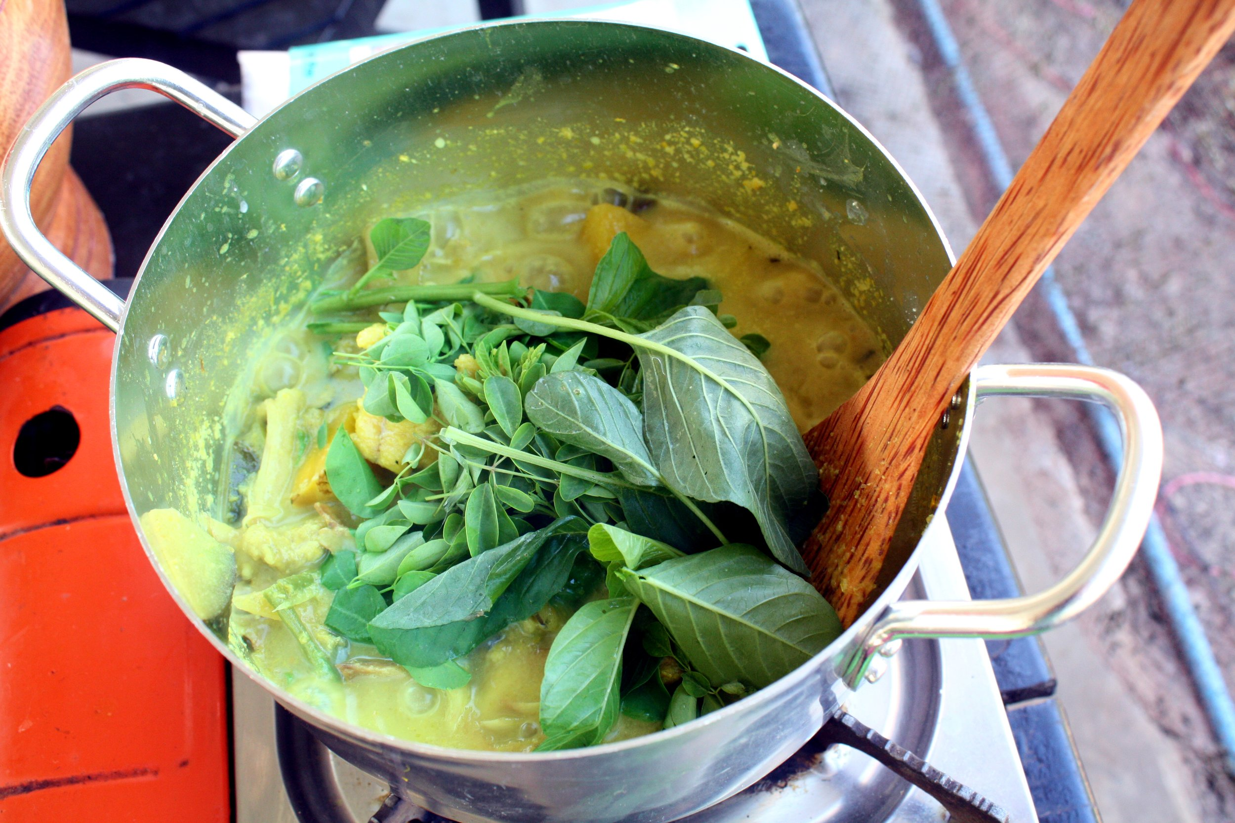 Our Samlor Kakor (Fish and Vegetable Coconut Soup) in the making.