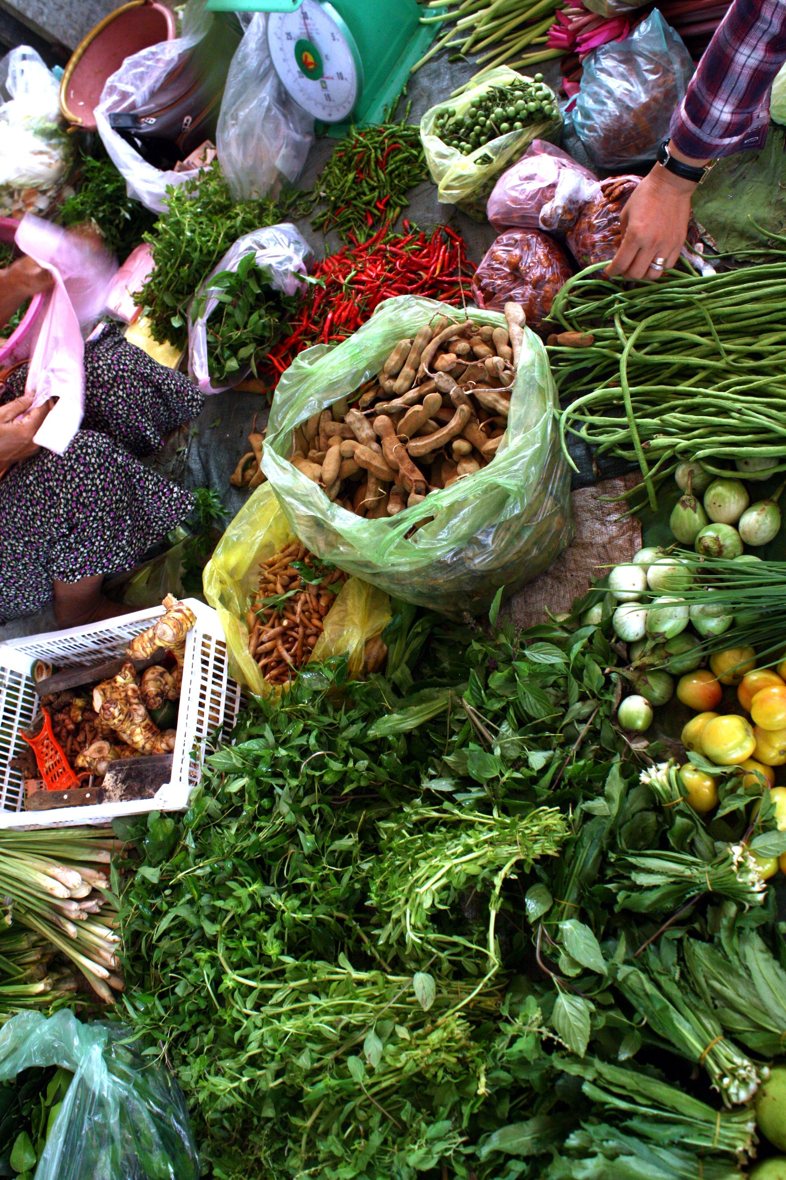 Cambodian markets are so colourful.