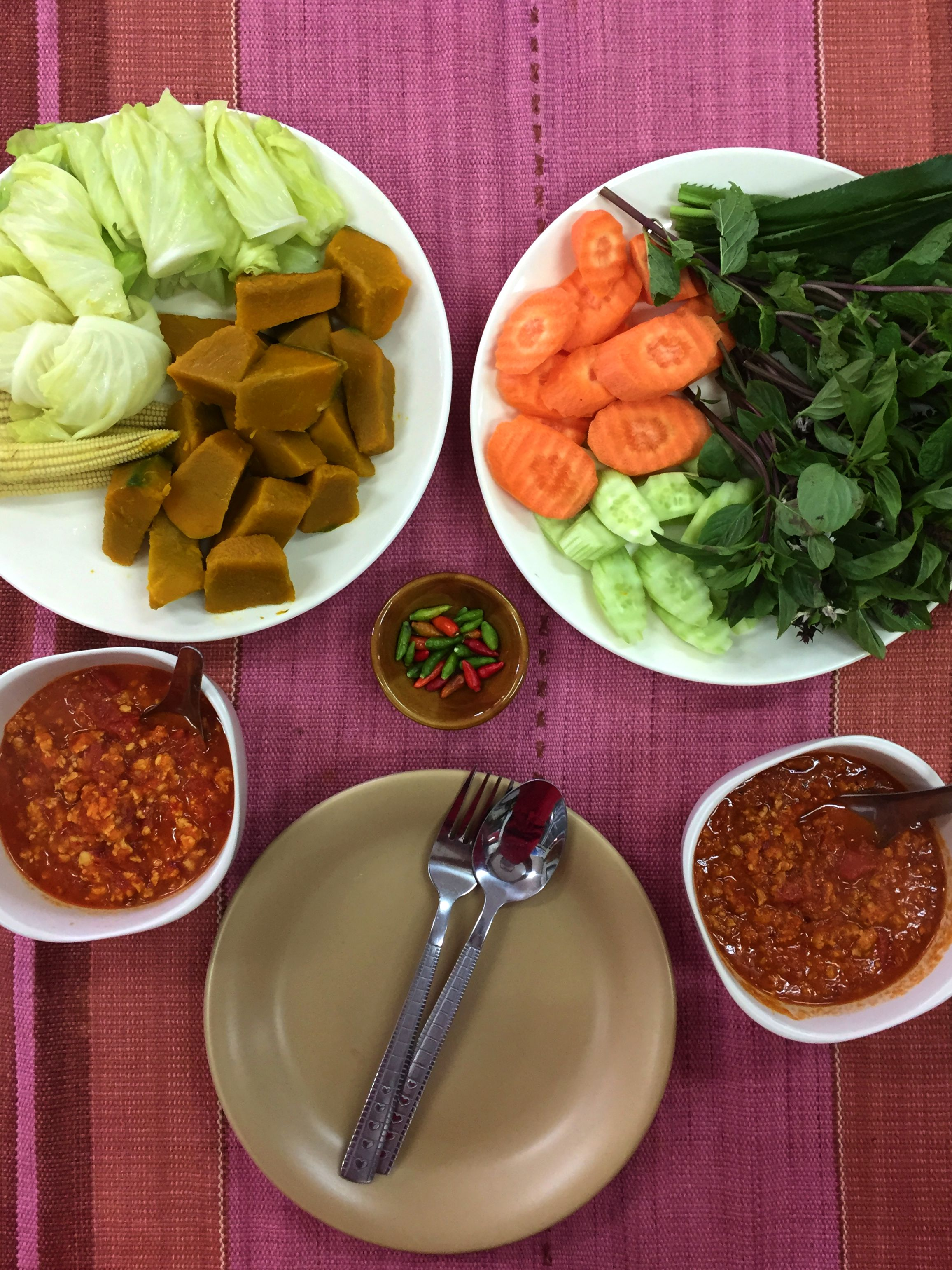 Nam Prik Ong, a spicy tomato and meat dip served with veg.