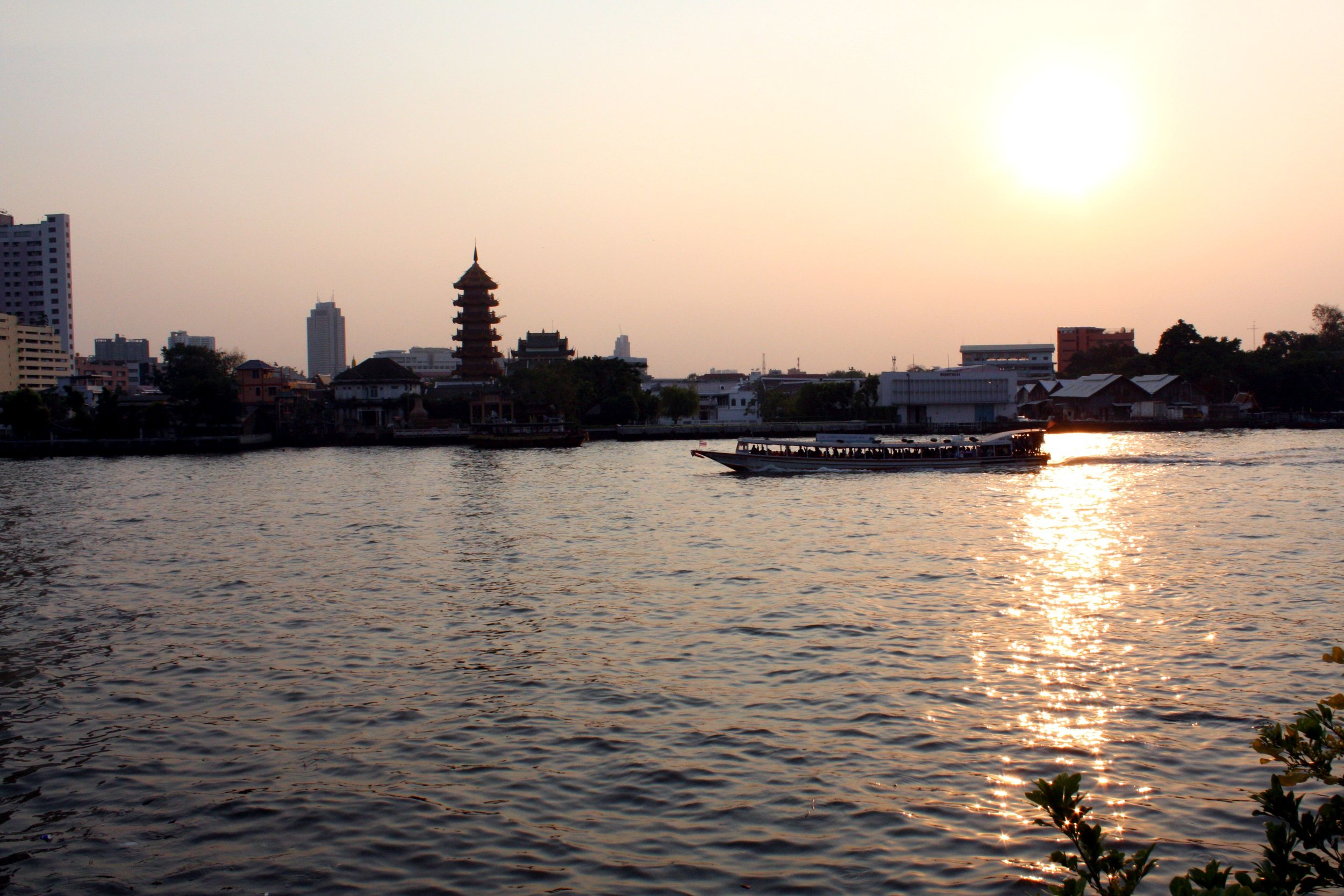 Bangkok riverside sunset.