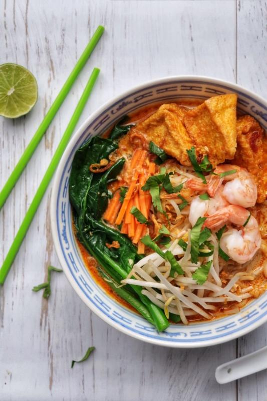 bowl of gluten free malaysian style laksa noodle soup