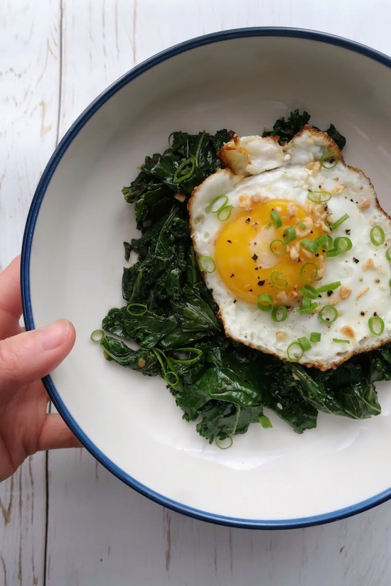 sauteed chili jam kale with fried egg gluten free my bf is gf