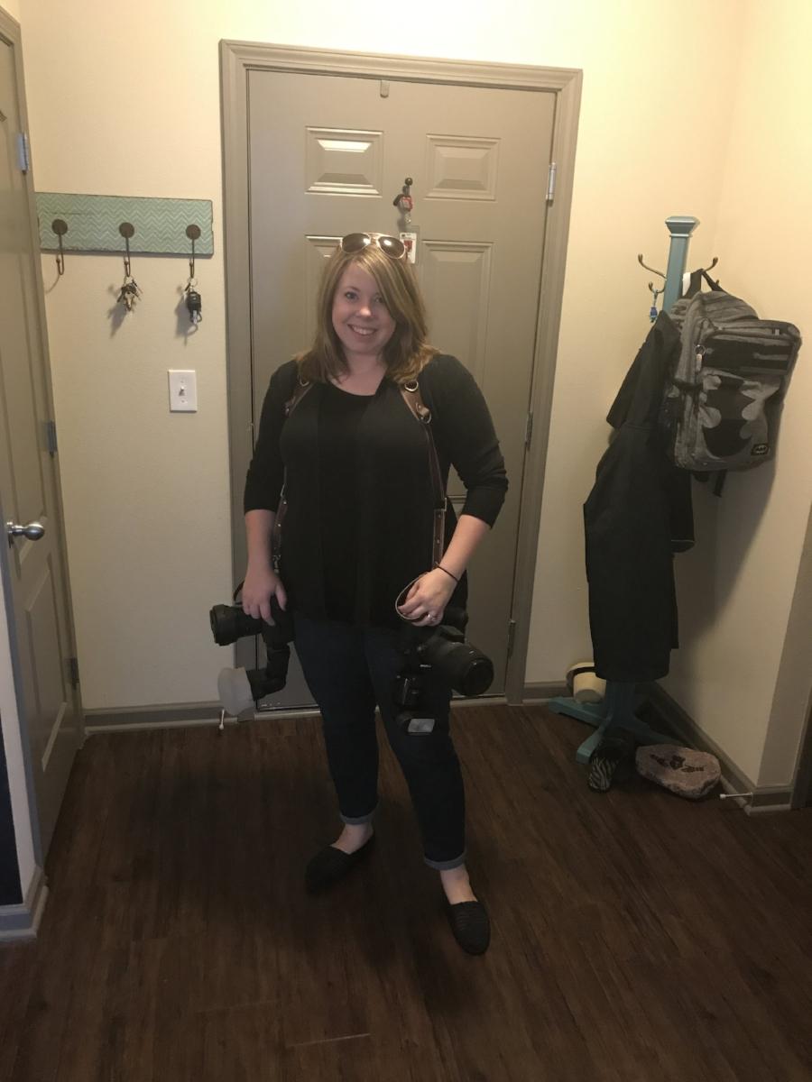 Belinda testing out her new camera strap