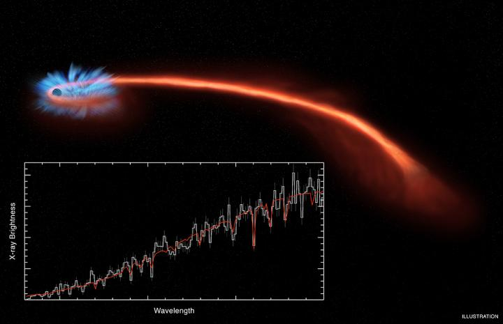 This illustration of a recently observed tidal disruption, named ASASSN-14li, shows a disk of stellar debris around the black hole at the upper left. A long tail of ejected stellar debris extends to the right, far from the black hole. The X-ray spectrum obtained with NASA's Chandra X-ray Observatory (seen in the inset box) and ESA's XMM-Newton satellite both show clear evidence for dips in X-ray intensity over a narrow range of wavelengths. These dips are shifted toward bluer wavelengths than expected, providing evidence for a wind blowing away from the black hole. - Credit: NASA/CXC/M. Weiss