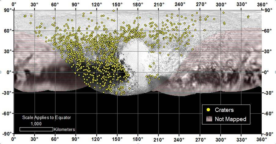 Locations of more than 1,000 craters mapped on Pluto by NASA's New Horizons mission indicate a wide range of surface ages, which likely means Pluto has been geologically active throughout its history - Image credit: NASA/JHUAPL/SwRI