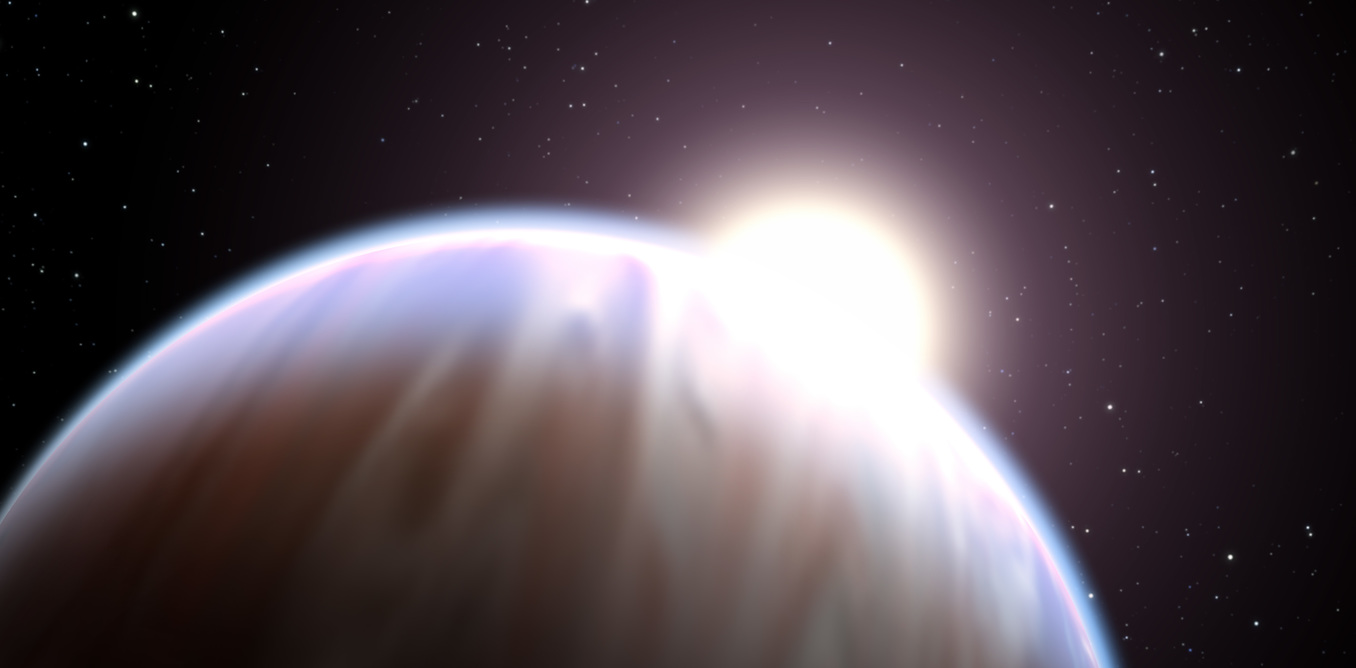 The light shining through an exoplanet's atmosphere can give us a hint of whether the planet supports life. - Image Credit:   NASA, ESA, and G. Bacon (STScI)