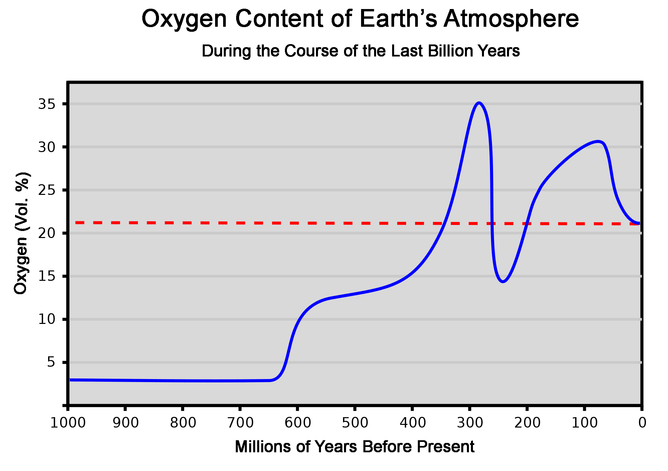 The concentration of oxygen in the Earth's atmosphere over the last billion years. As a reference, the dashed red line shows the present concentration of 21% - Image Credit:   Wikimedia