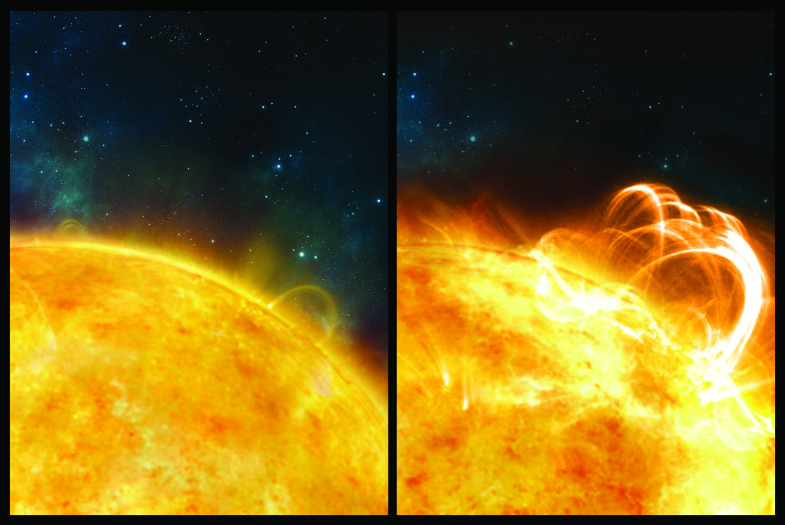 What the Sun might look like if it were to produce a superflare. A large flaring coronal loop structure is shown towering over a solar active region - Image Credit: Ronald Warmington,University of Warwick