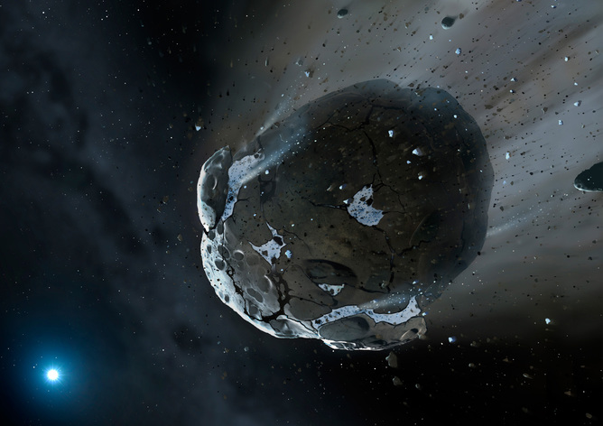 Artist's view of a watery asteroid heading to a white dwarf star. - Image Credit:   ESA/Hubble