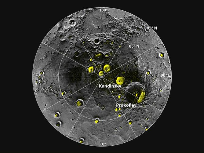 Mercury's north polar region. The yellow areas are in permanent shadow - Image Credit:  ASA/Johns Hopkins University Applied Physics Laboratory/Carnegie Institution of Washington/National Astronomy and Ionosphere Center, Arecibo Observatory