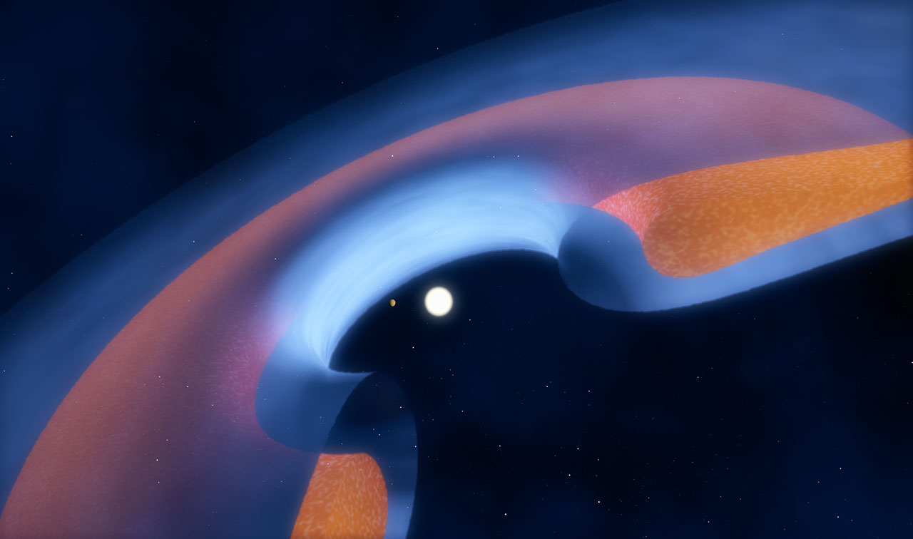 Schematic view of a transitional disc around a young star - Image Credit: ESO/M . Kormmesser