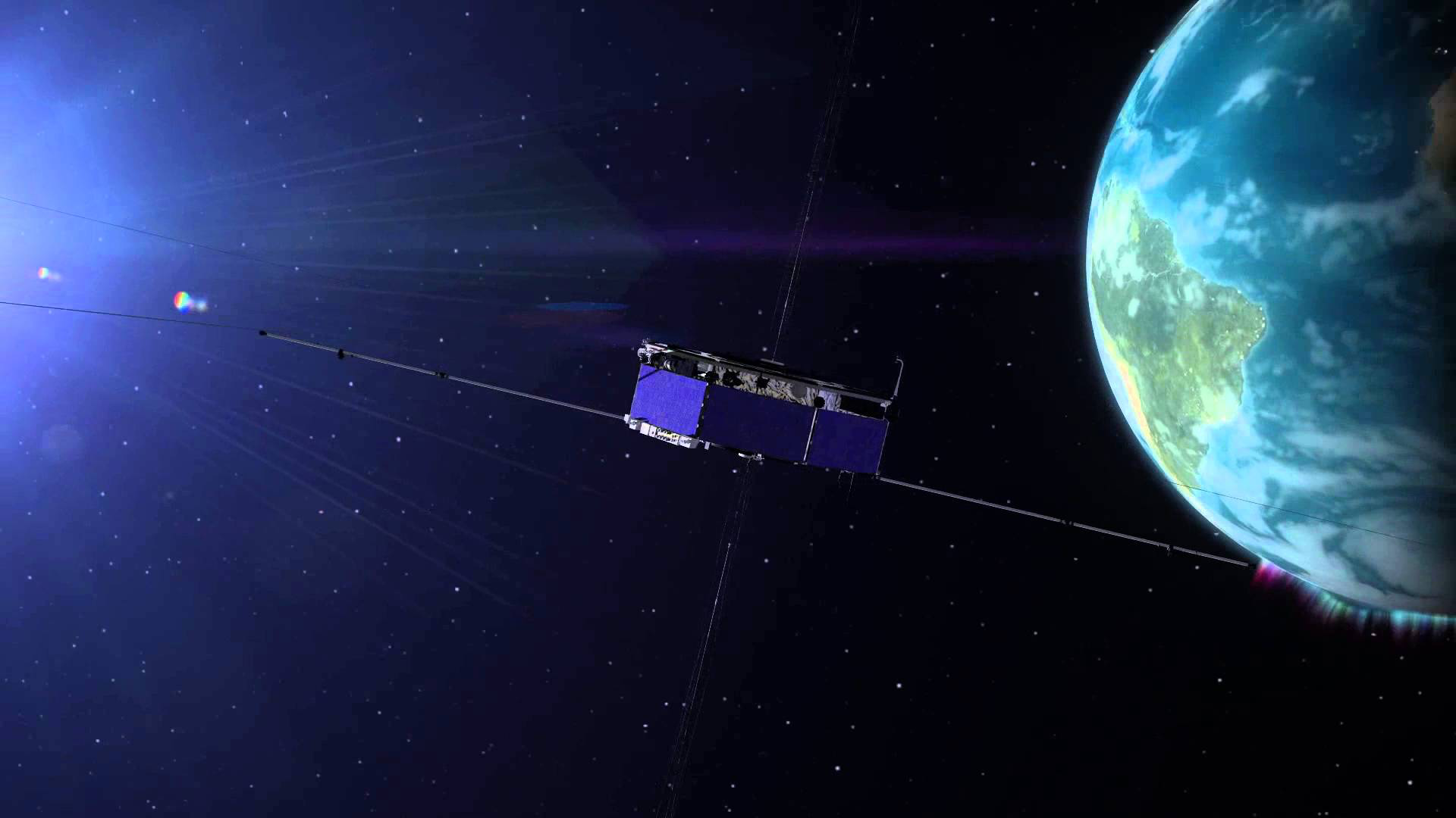 The four identical spacecraft of NASA's Magnetospheric Multiscale, or MMS, mission (one of which is illustrated here) fly through the boundaries of Earth's magnetic field to study an explosive process of magnetic reconnection. Thought to be the driver behind everything from solar flares to aurora, magnetic reconnection creates a sudden reconfiguration of magnetic fields, releasing huge amounts of energy in the process. - Image    Credits:  NASA's Goddard Space Flight Center
