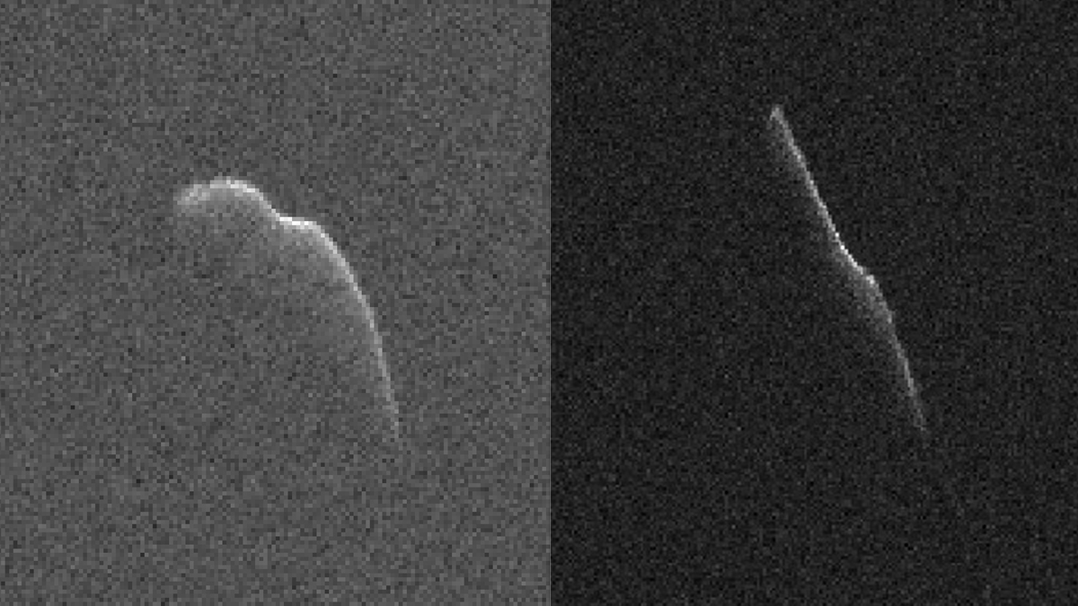 These images of an asteroid that is at least 3,600 feet (1,100 meters) long were taken on Dec. 17, 2015, (left) and Dec. 22 (right) by scientists using NASA's 230-foot (70-meter) Deep Space Network antenna at Goldstone, California. This asteroid, named 2003 SD2020, will safely fly past Earth on Thursday, Dec. 24, at a distance of 6.8 million miles (11 million kilometers). On Dec. 17, it was about 7.3 million miles (12 million kilometers) from Earth. By Dec. 22, it was closing in on its Christmas Eve flyby distance. – Image Credits: NASA/JPL-Caltech/GSSR
