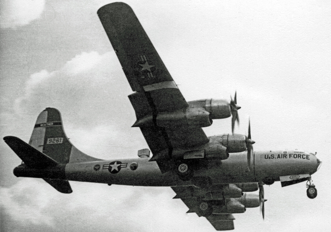 Superfortress weather ship of the 53 Weather Reconnaissance Squadron landing at its base in England - Image Credit:     RuthAS
