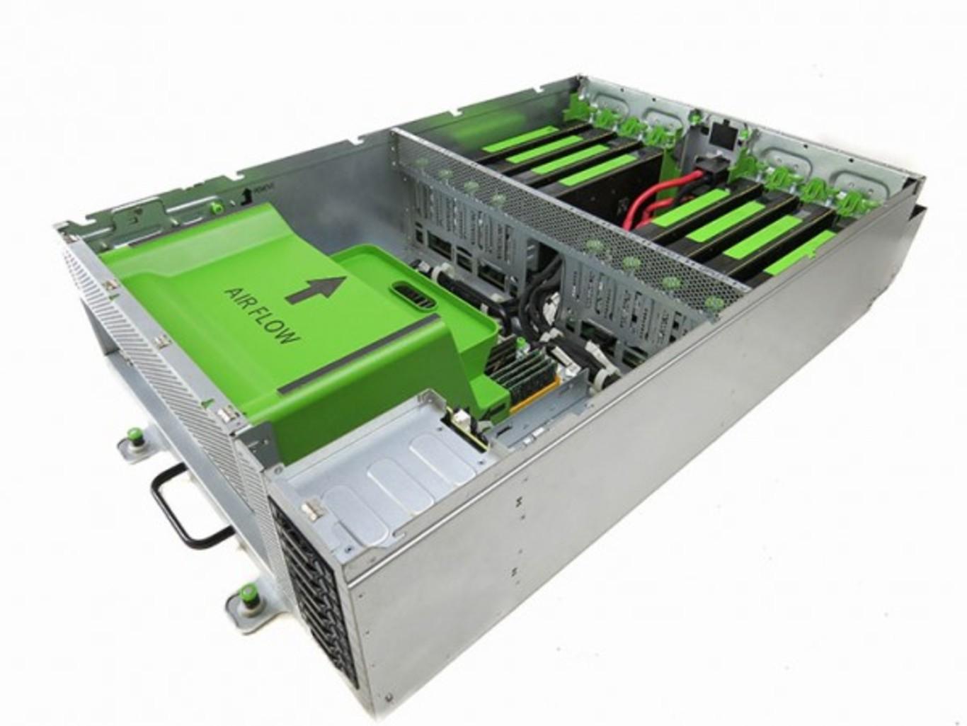 Facebook Big Sur server containing 8 Nvidia Teslag M40 GPUs. - Image Credit Facebook