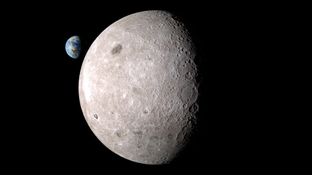 Far side of the moon with Earth in the Background -Image Credit:   NASA