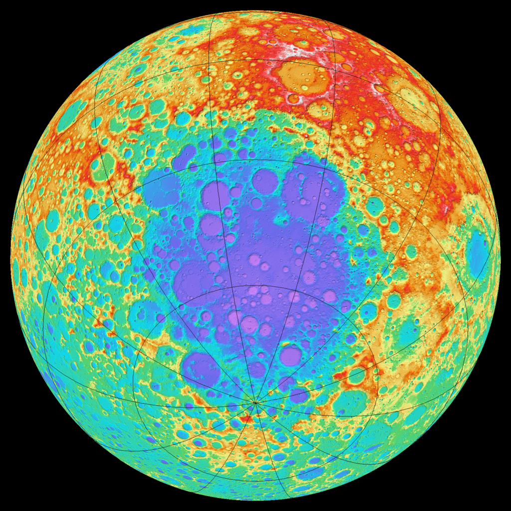 Colour-coded topography of part of the Moon, mostly the far side, seen from above the South Pole-Aitken basin. Blue is lowest, red is highest. -  Image Credit:     NASA