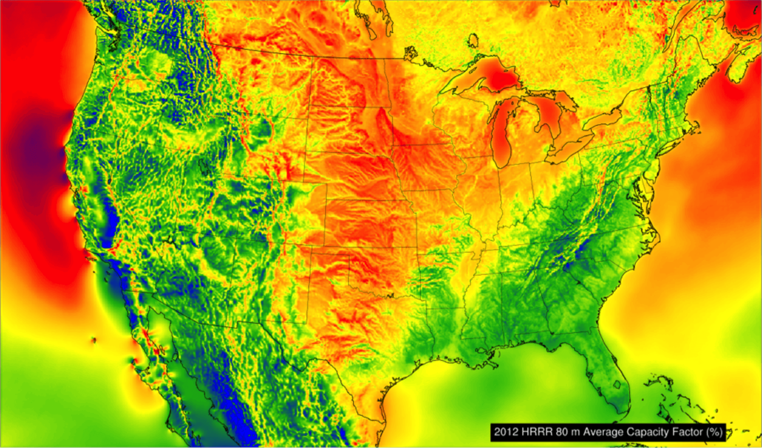 Wind power potential estimates for the U.S. Red indicates high potential, blue is low. - Image Credit: Chris Clack / CIRES, Author provided
