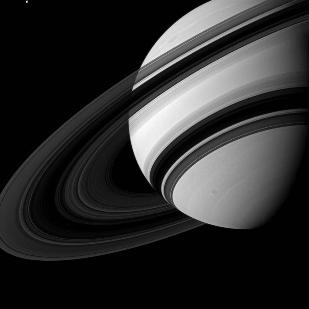 Saturn's B ring is the most opaque of the main rings, appearing almost black in this Cassini image taken from the unlit side of the ringplane. – Image Credits: NASA/JPL-Caltech/Space Science Institute