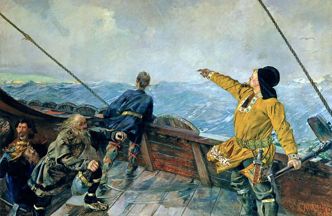 Leif Erikson discovers America. – Image Credit: Christian Krogh/Wikimedia Commons
